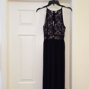 Nightway Navy Blue Lace Halter Maxi Gown 8P
